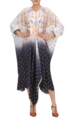 Oriental floral kaftan with hand embroidered border