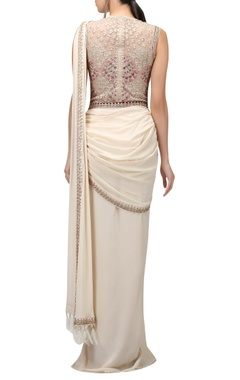 Metallic thread embroidered pre-draped sari with bodysuit