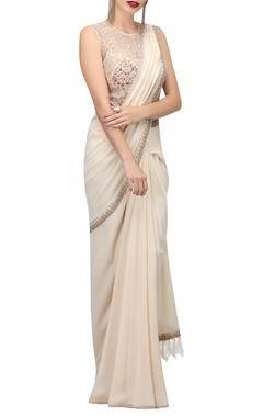 TARUN TAHILIANI Metallic thread embroidered pre-draped sari with bodysuit