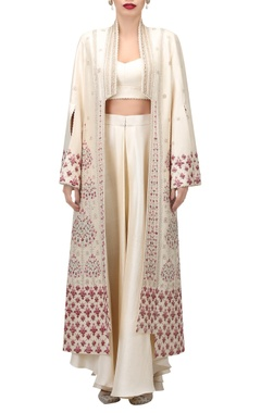 TARUN TAHILIANI Dupion silk embroidered pottery motifs long jacket