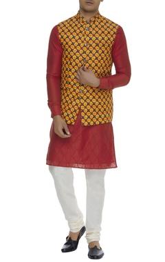 Chatenya Mittal Printed linen nehru jacket