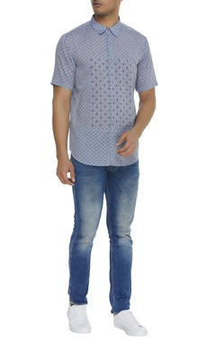 Embroidered square panel shirt
