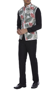 Khanijo Tropical print Nehru jacket