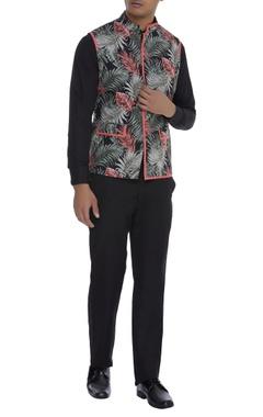 Khanijo Palm print Nehru jacket