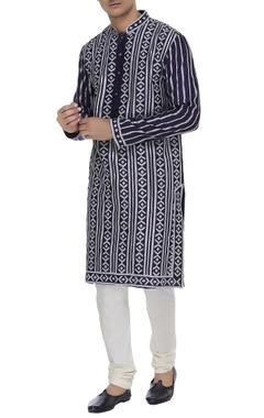 Printed silk kurta