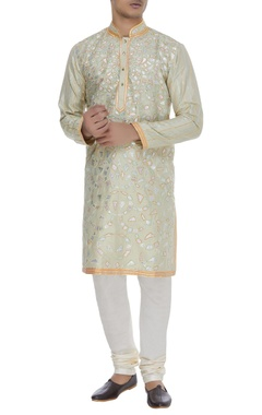 Spun silk embroidered kurta