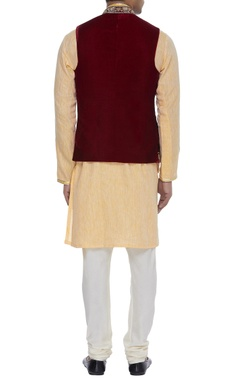 Embroidered velvet nehru jacket