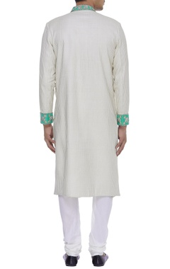 Checkered linen silk sherwani