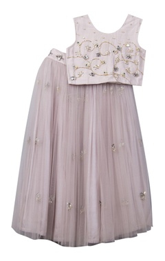 Sugar Candy Hand embroidered top with net lehenga skirt