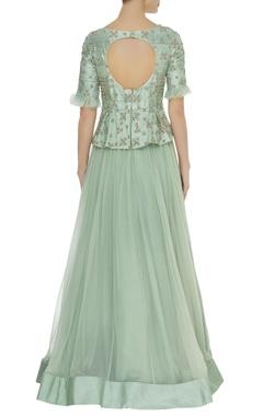 Peplum zardosi & thread hand embroidered gown