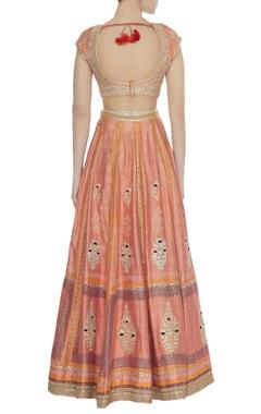 Gota & thread work blouse with lehenga & dupatta