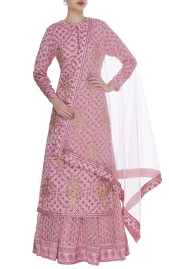 Gota and threadwork kurta with lehenga & dupatta