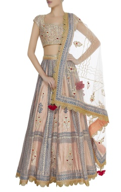 Gota & thread work blouse with lehenga & dupatta