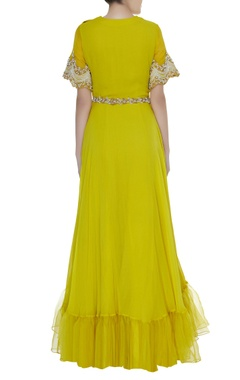 Embroidered sleeves gown