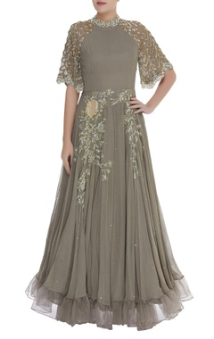 Bhumika Sharma Embroidered gown with net sleeves