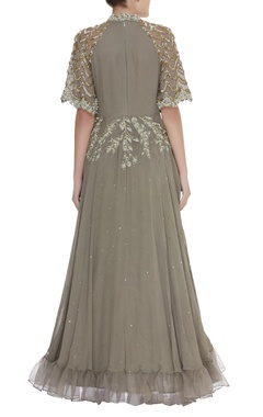 Embroidered gown with net sleeves