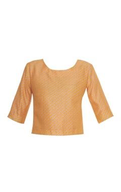 Diagonal print blouse with button closure