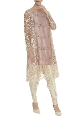 Mishru Embroidered flared kurta with dhoti pants & jacket