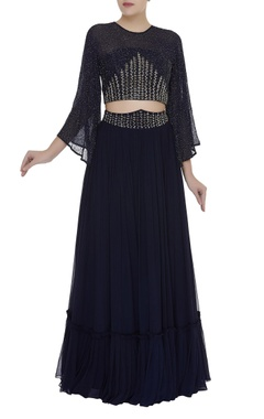 Mishru Embroidered raglan crop top with pleated skirt