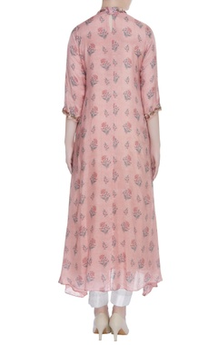 Printed & embroidered asymmetric tunic