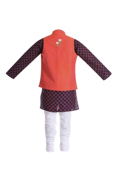 Cotton silk elephant embroidered jacket with kurta and churidar