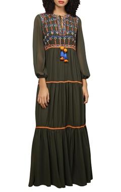 Reynu Taandon Embroidered frill maxi dress