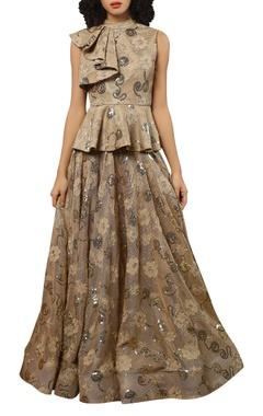 Reynu Taandon Peplum top with flared lehenga skirt