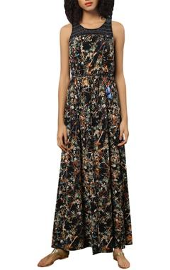Digital printed organza drape gown