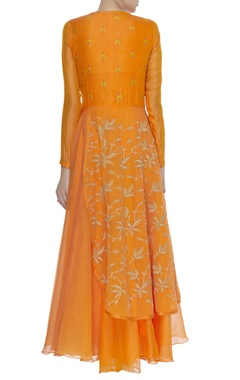 Layered Anarkali Kurta with Flower Motif Dupatta