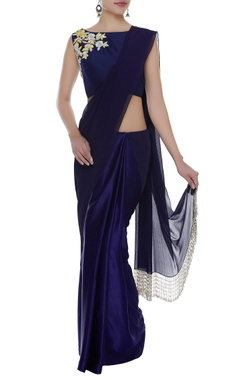 Manish Malhotra Fringe border sari with embroidered blouse