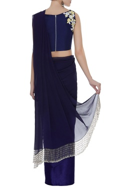 Fringe border sari with embroidered blouse