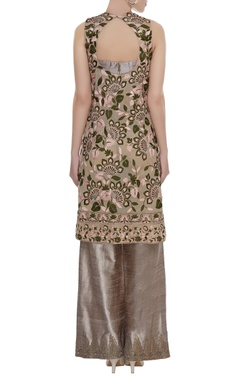 Embroidered open front kurta with bustier & straight pants
