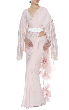 Manish Malhotra 3D rose sari with fringe blouse & belt