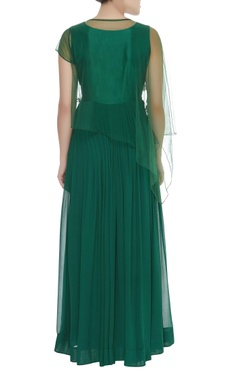 Flared maxi dress with cape