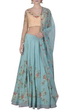 Mandira Wirk Box pleated embroidered lehenga set