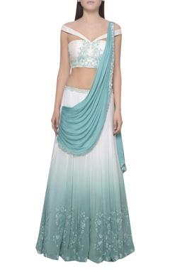 Mandira Wirk Embroidered blouse & kalidar lehenga set