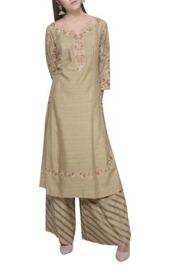 Mandira Wirk Striped palazzo & embroidered kurta set