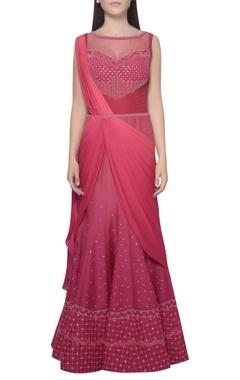 Mandira Wirk Embroidered boat neck draped saree