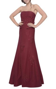 Mandira Wirk Off shoulder embroidered gown