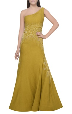 Mandira Wirk One shoulder embroidered gown