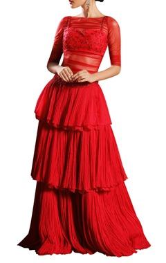 Sheer bodysuit with tier lehenga skirt