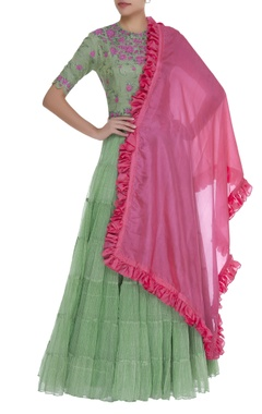 Tiered lehenga with floral blouse & dupatta