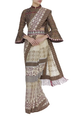 Poonam Dubey Printed sari with checkered blouse & belt