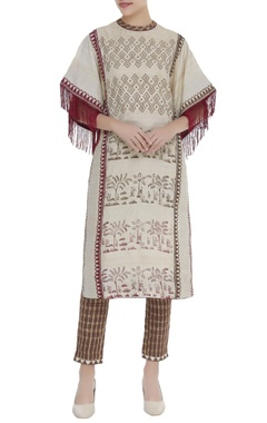 Poonam Dubey Printed straight fit kurta with checkered pants