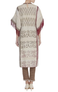 Printed straight fit kurta with checkered pants