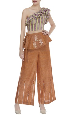 Poonam Dubey One shoulder top with flared pants & belt