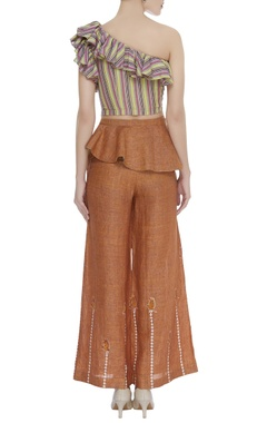 One shoulder top with flared pants & belt