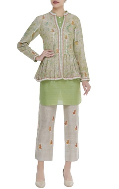 Poonam Dubey Printed jacket with inner and straight pants
