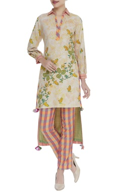 Poonam Dubey Printed tunic with straight checkered pants
