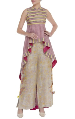 Poonam Dubey Asymmetric striped printed tunic with straight pants